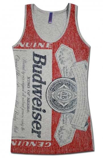 Distressed Label Budweiser Women's Long Tank Top