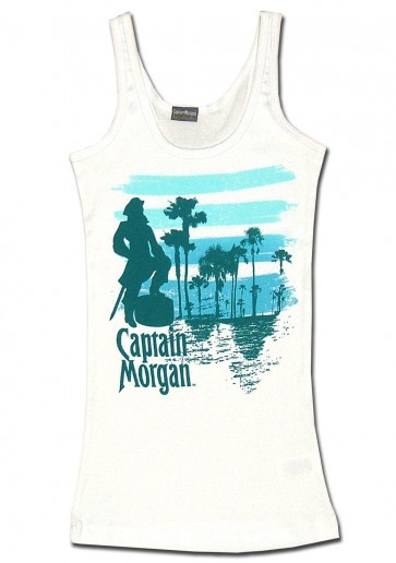 Juniors White Captain Morgan Tank Top