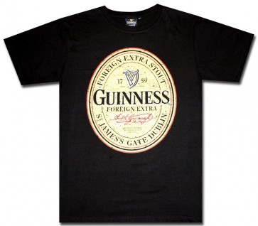 Guinness Distressed Label Black T-Shirt