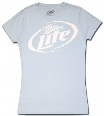Miller Lite Women's Babydoll : Sky Blue Distressed