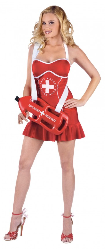 Off Duty Women's Lifeguard Costume : Sexy Red Dress