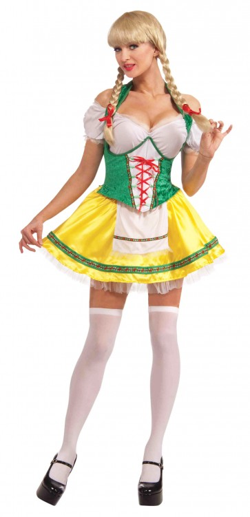 Beer Garden Girl Costume : Green & Yellow