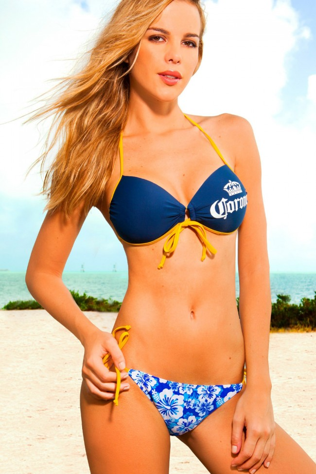 da9597a1c7623 Front Tied Corona Extra Bikini Set