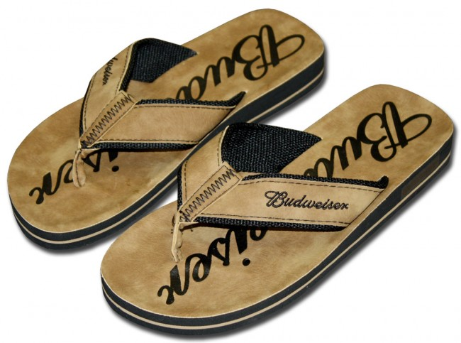 e341f0b08db6 Home  Budweiser Beer Sandals   Tan Faux. Front