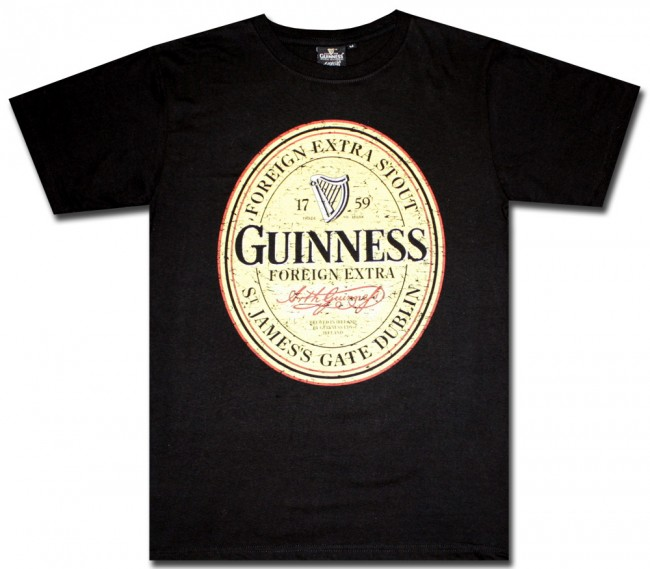 Guinness Beer T Shirt Black Distressed Label Shirt