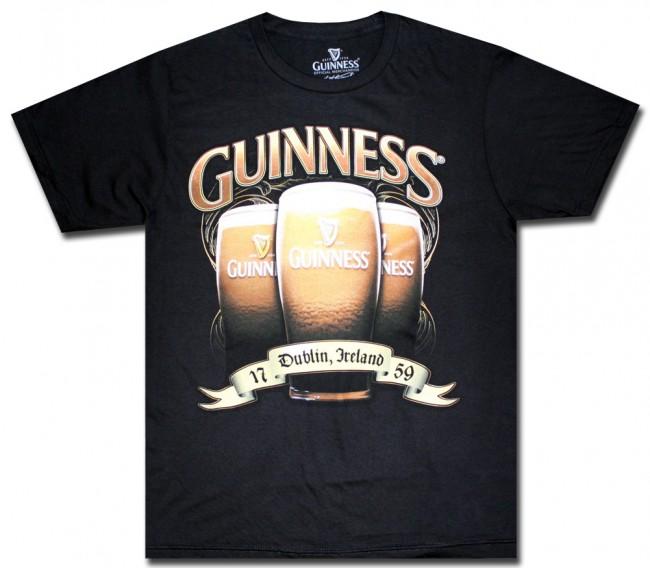 Guinness Black Triple Pint Glass T Shirt Beertees Com
