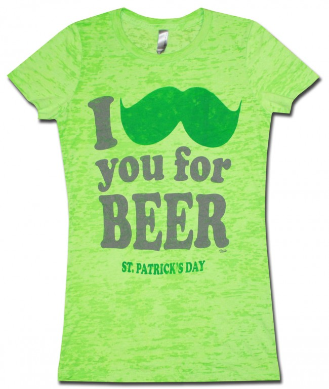 St Patricks Women S Babydoll Mustache Burnout Fun