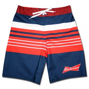 Navy Striped Budweiser Board Shorts