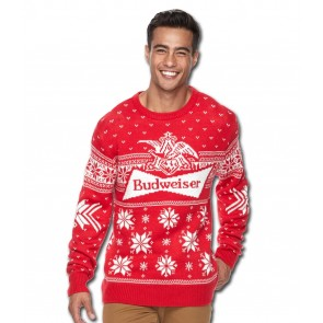 Budweiser Red Bowtie Ugly Christmas Sweater