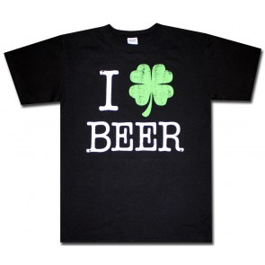 Irish T-Shirt : Black I Shamrock Beer Shirt