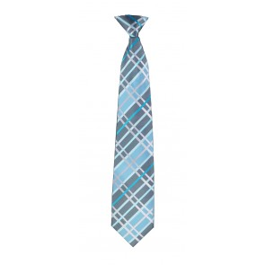 Flask Tie Grey & Turquoise Plaid