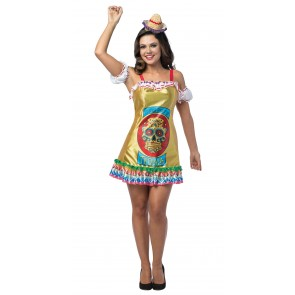 Dead Skull Tequila Dress Women's Costume